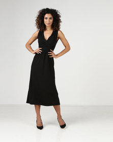Assuili Lace Inset Midi Dress Black
