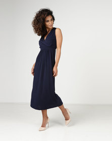 Assuili Lace Inset Midi Dress Marine