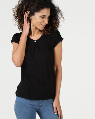 Assuili William de Faye Pleated Front Top with Diamond Button Black