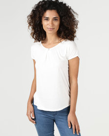 Assuili William de Faye Pleated Front Top with Diamond Button White