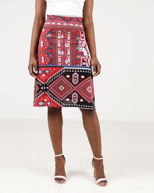 Assuili William de Faye Imp Design Skirt Red