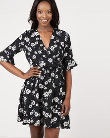 Assuili William de Faye Liberty Printed Heart Cache Dress Black
