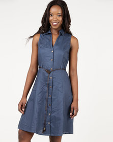Assuili William de Faye Sleeveless Button Down Dress Marine