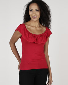 Utopia Frill Bardot Top Red