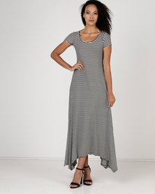 Utopia Stripe Hanky Hem Maxi Dress Black/White