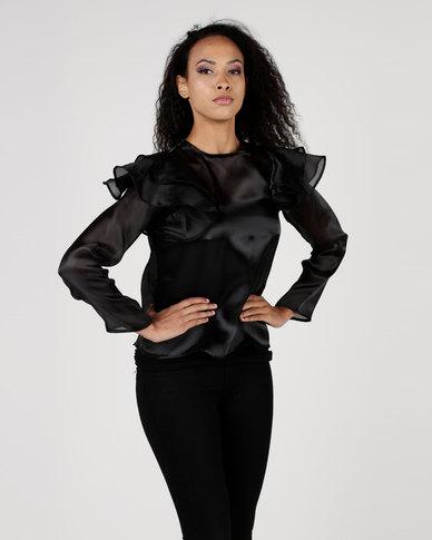Amanda May Long Sleeve Frill Blouse Black