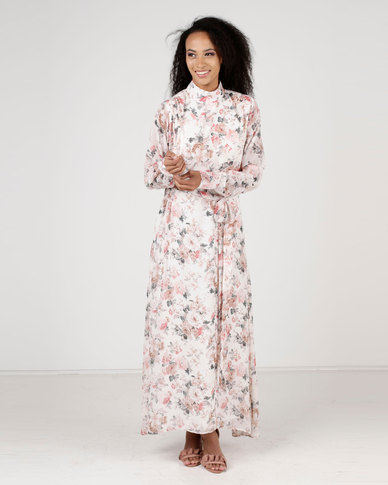 Amanda May Long Sleeve Floral Maxi Dress Multi