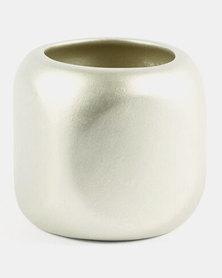 Grey Gardens Square Vase Gold