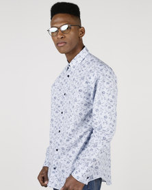JCrew Floral Long Sleeve Shirt Blue