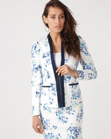 Queenspark Floral Print Woven Jacket Blue