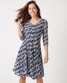 Queenspark Mini Floral Fantasy Fit & Flare Knit Dress Navy