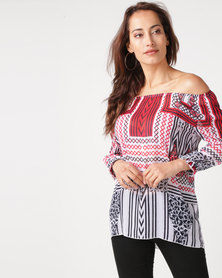 Queenspark Geometric Printed Yoryu Woven Blouse Red