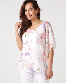 Queenspark Peony Print Woven Blouse White