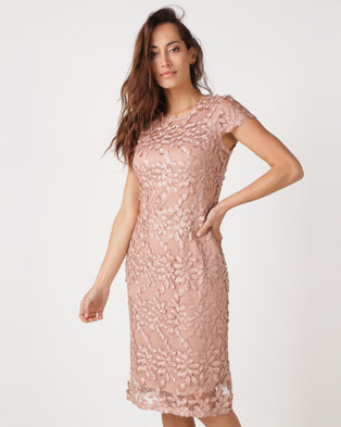 Queenspark Feathered Lace Knit Dress Gold