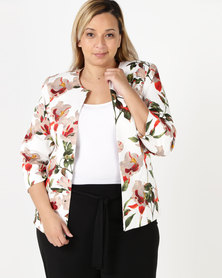 Queenspark Plus Floral Printed Sateen Woven Jacket White