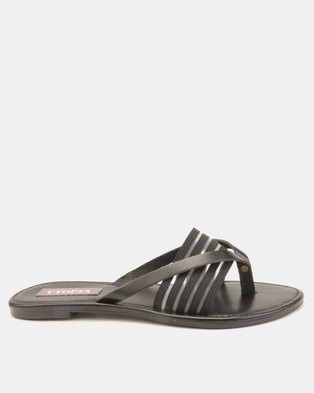 997cdb7af Utopia Elastic And Leather Thongs Black