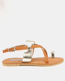 Utopia Leather Strappy Sandals Tan Gold