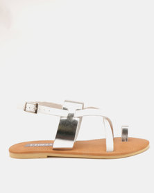 Utopia Leather Strappy Sandals White Silver