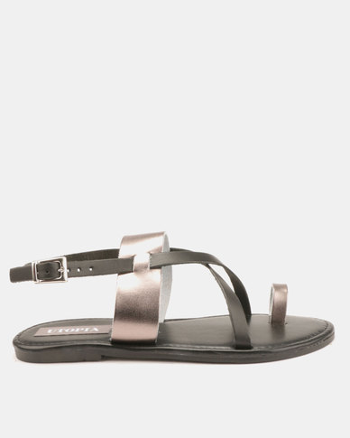Utopia Leather Strappy Sandals Black Pewter