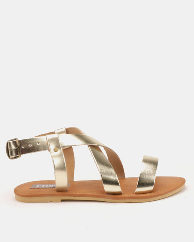 Utopia Leather Sandals Gold