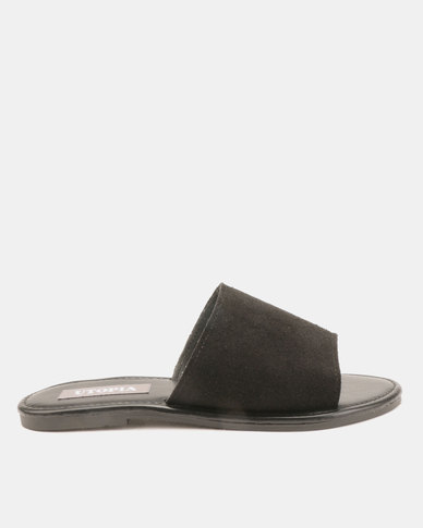 Utopia Leather Suede Mules Black