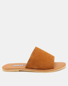 Utopia Leather Suede Mules Tan