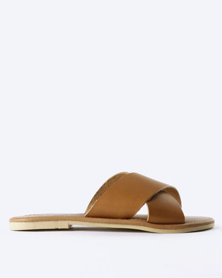 Utopia Leather Cross Strap Slides Tan