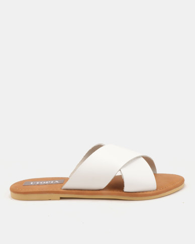 Utopia Leather Cross Strap Slides White