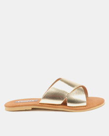 Utopia Leather Cross Strap Slides Gold
