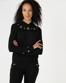Brett Robson Shay Lds Hoodie With Eyelets On Front Neckline & Cuff Black