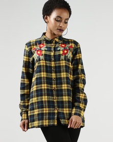 Legit Embroidered Check Shirt Mustard