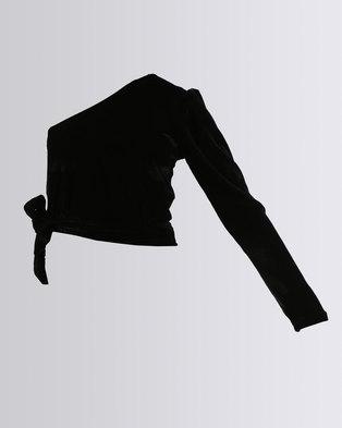 409a2cac2c64ff Legit One Sleeve Velour Crop Top Black