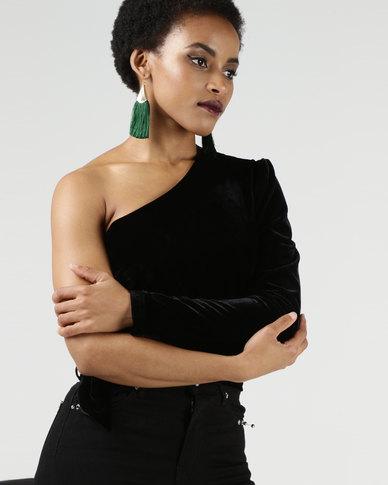 Legit One Sleeve Velour Crop Top Black