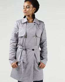 Legit Double Breasted Sateen Trench Coat Grey