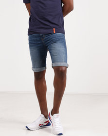 New Look Skinny Denim Shorts Blue