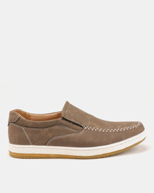 Utopia Stitch Slip On Brown