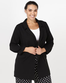 New Look Curves Cross Hatch Stretch Blazer Black