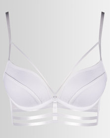 New Look Lace Strappy Longline Bra White