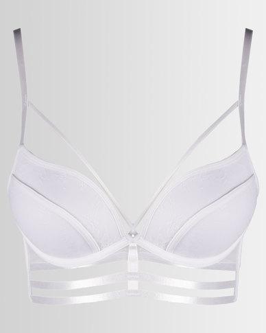 New Look Lace Strappy Longline Bra White