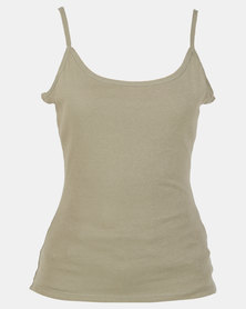 New Look Shoestring Strap Cami Olive Green