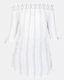 New Look Shirred Bardot Neck Beach Dress White Stripe