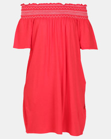 New Look Shirred Bardot Neck Beach Dress Red