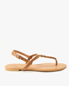 New Look Hot PU Metal Toe Post LI Sandals Tan