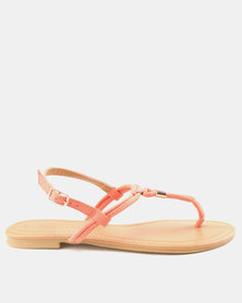New Look Hot Suedette Metal Toe Post Sandals Light Coral
