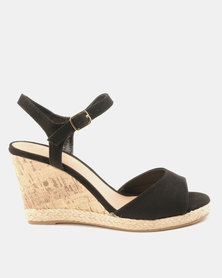 New Look Wide Fit Suedette Cork Espadrille Wedges Black