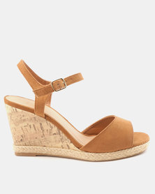 New Look Wide Fit Suedette Cork Espadrille Wedges Tan