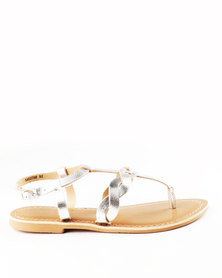 New Look Granted Leather Toe Post Sandals Silver