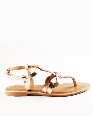 New Look T-Granted Leather Toe Post Sandal Rose Gold