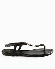 New Look Wf Immaline PU Leading Toepost Sandals Black