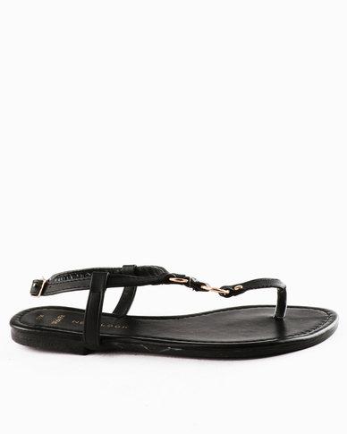 New Look Wf Immaline PU Leading Toepost Sandals Black